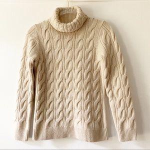 L.L. Bean Cream Fisherman Turtleneck Sweater Small